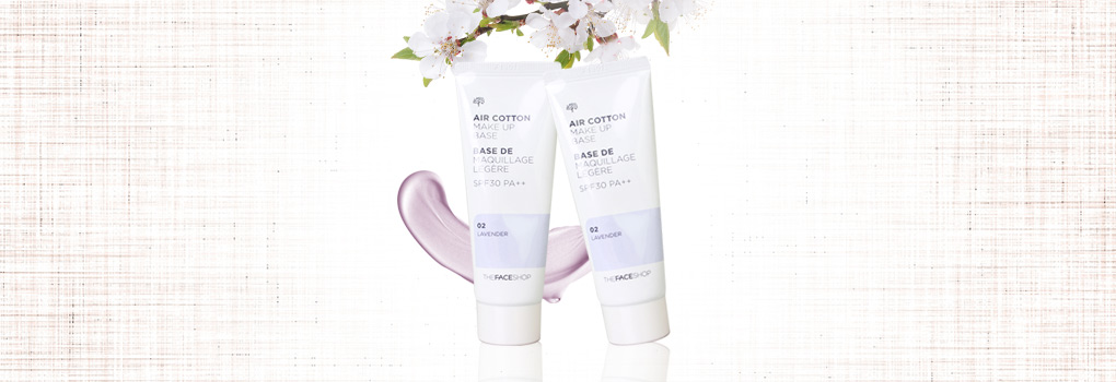 แพ็คคู่ The Face Shop Air Cotton Make Up Base SPF30 PA++ #02 Lavender (35ml x2)
