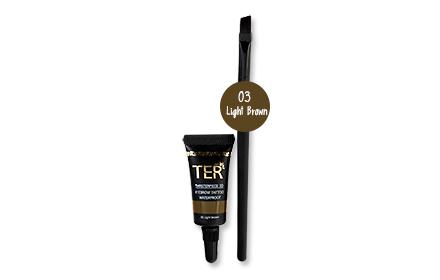 Set TER Masterpiece 3D Eyebrow Tattoo Waterproof With Brush #03 Light Brown 4g