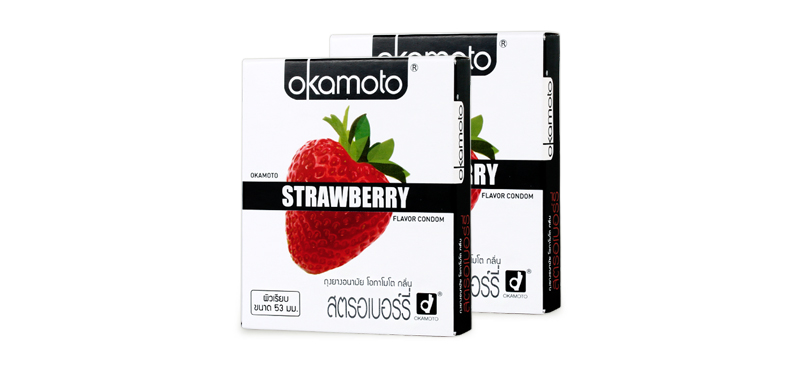 Okamoto Strawberry Flavor Condom 53mm (2pcsx2boxes)