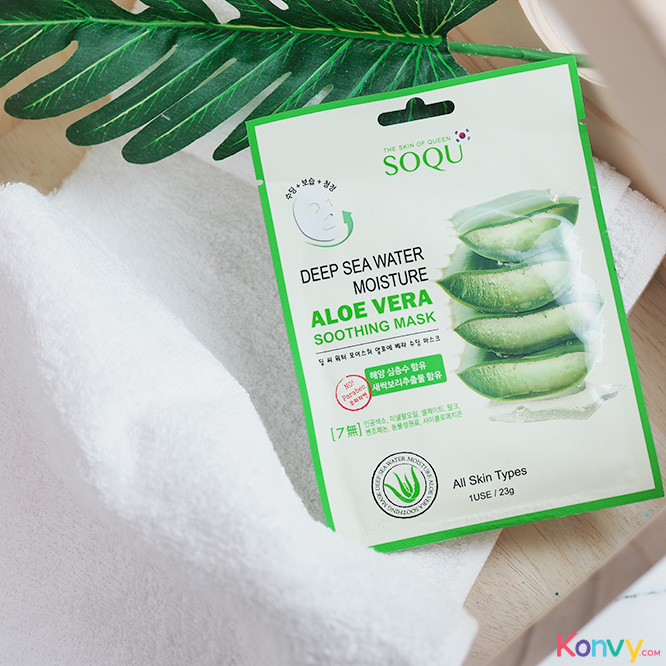 เเพ็คคู่ SOQU Deep Sea Water Moisture Aloe Vera Soothing Mask (23g x 2pcs)_1