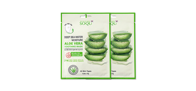 เเพ็คคู่ SOQU Deep Sea Water Moisture Aloe Cera Soothing Mask (23g x 2pcs)