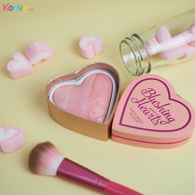Makeup Revolution Blushing Hearts Triple Baked Blusher #Peach Pink Kisses
