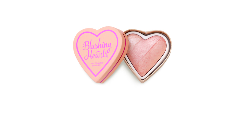 Makeup Revolution Blushing Hearts Triple Baked Blusher 10g #Peach Pink Kisses