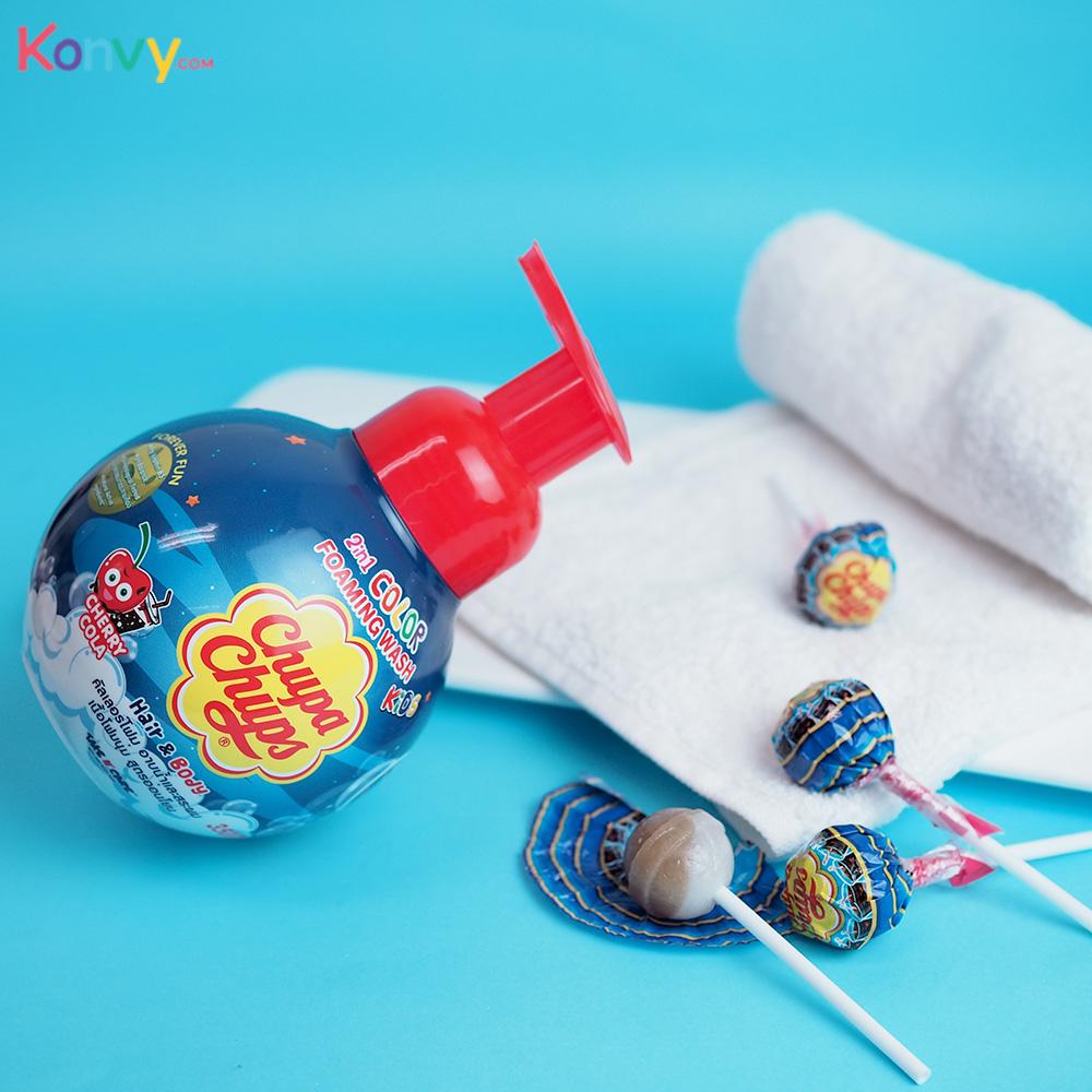 Chupa Chups Kids 2IN1 Hair & Body Color Foaming Wash 350ml #Cherry Cola_1
