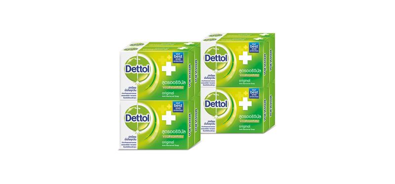 แพ็คคู่ Dettol Anti-Bacterial Soap Original (65g x 8pcs)