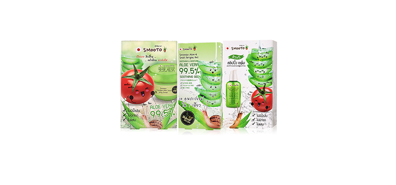 Smooto Japan Series Smooto Aloe Snail Set 3 Items (Bright Gel 4pcs + White & Acne Sleeping Serum 6pcs + Jelly Scrub