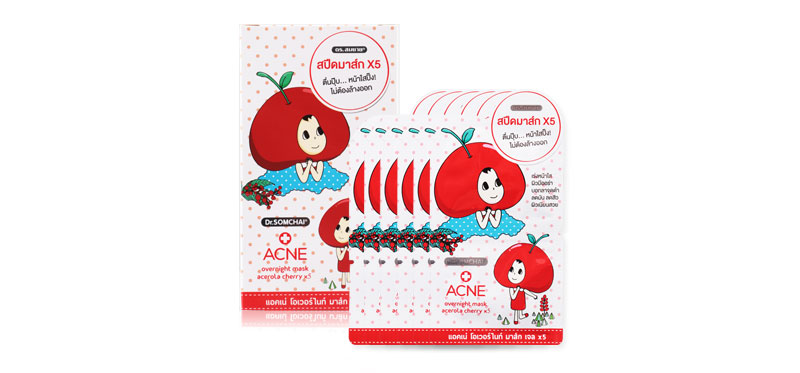 Dr.Somchai Acne Overnight Mask Gel Acerola Cherry X5 (8g x 6pcs)