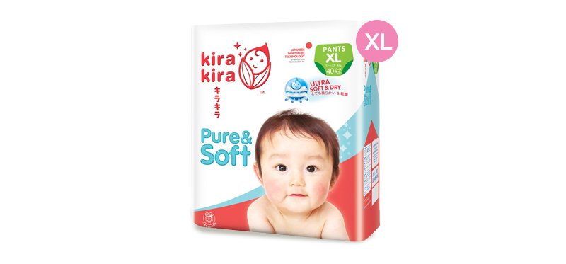 Kira Kira Pure & Soft Baby Pant Diaper 40pcs #XL