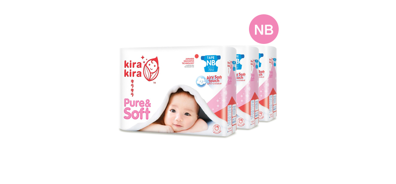 Kira Kira Pure & Soft Baby Tape Diaper 72pcs x 3packs (216pcs in box) #Newborn