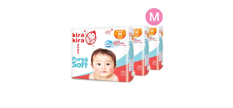 Kira Kira Pure & Soft Baby Pant Diaper 54pcs x 3packs (162pcs in box) #M