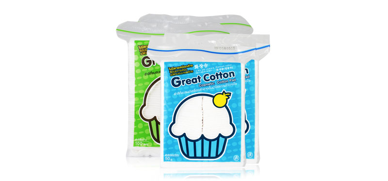 Great Cotton Cosmetic Cotton Pad Set 4 Items (100Pcs x2 + 50g x2)