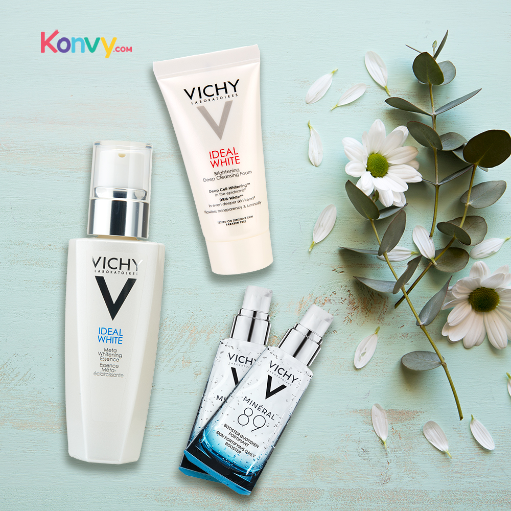Vichy Whitening Set Buy 1 Get 3 Free (Vichy Ideal White Foam 15ml + Mineral-89 2ml x 2pcs)