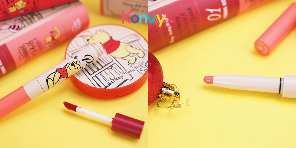 Baby Bright Disney Winnie the Pooh Duo Honey Lip Pencil & Liquid Lipstick (0.5g + 2.5g) #01 Morning Kiss_6