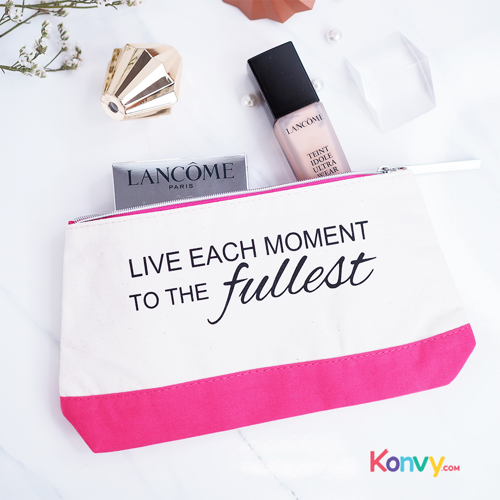 Lancome Pouch Live Each Moment To The Fullest #White & Pink_1
