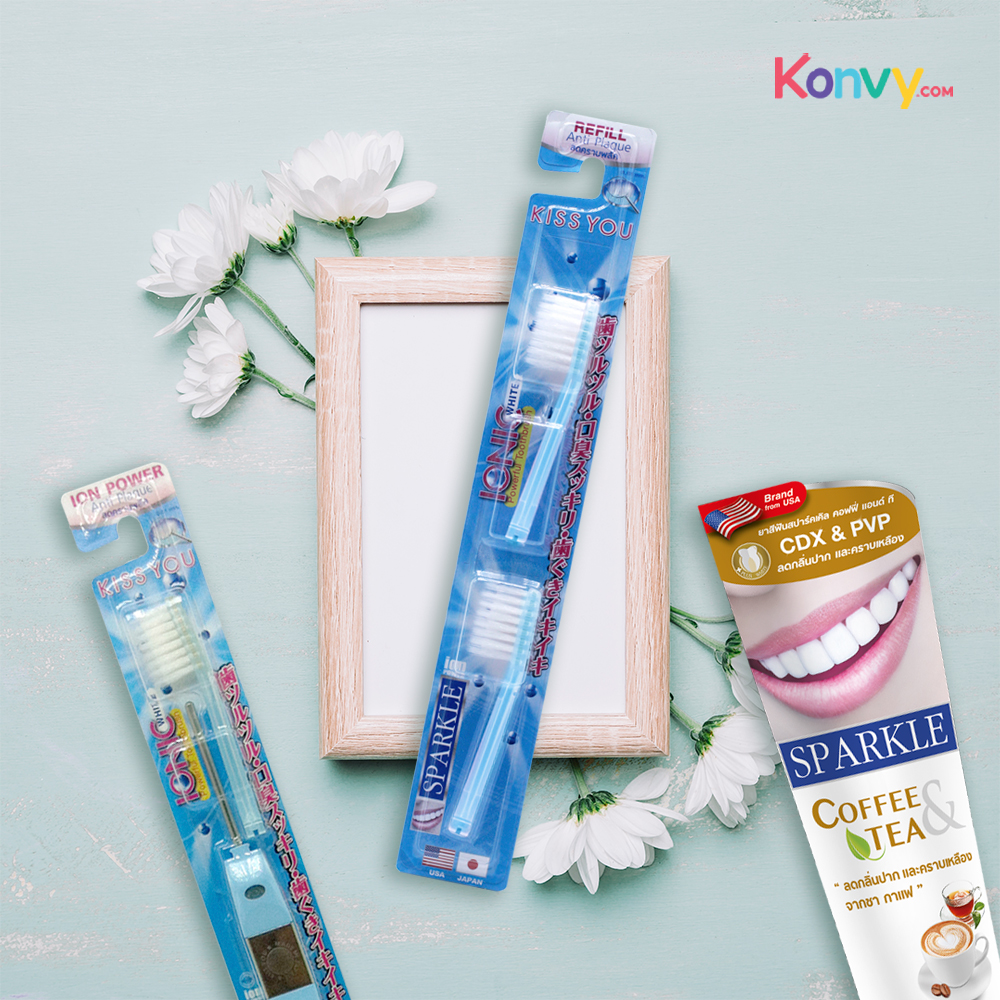Sparkle Gift Set 3 Items (Coffee & Tea Drinkers Whitening Toothpaste 90g + Ionic Toothbrush + Refill) #Blue