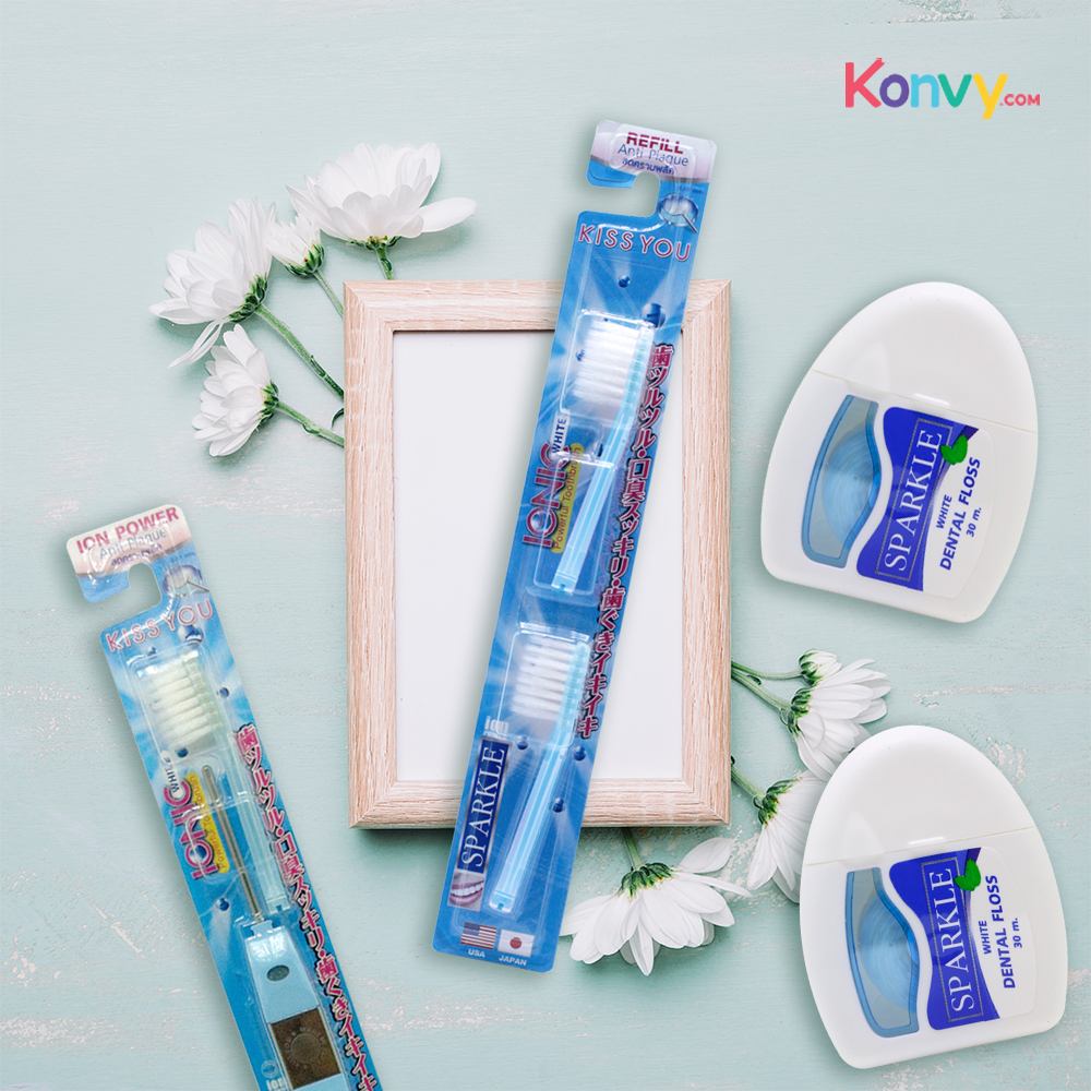 Sparkle Gift Set 3 Items (Sparkle White Dental Floss 2pcs + Ionic Toothbrush + Refill) #Blue