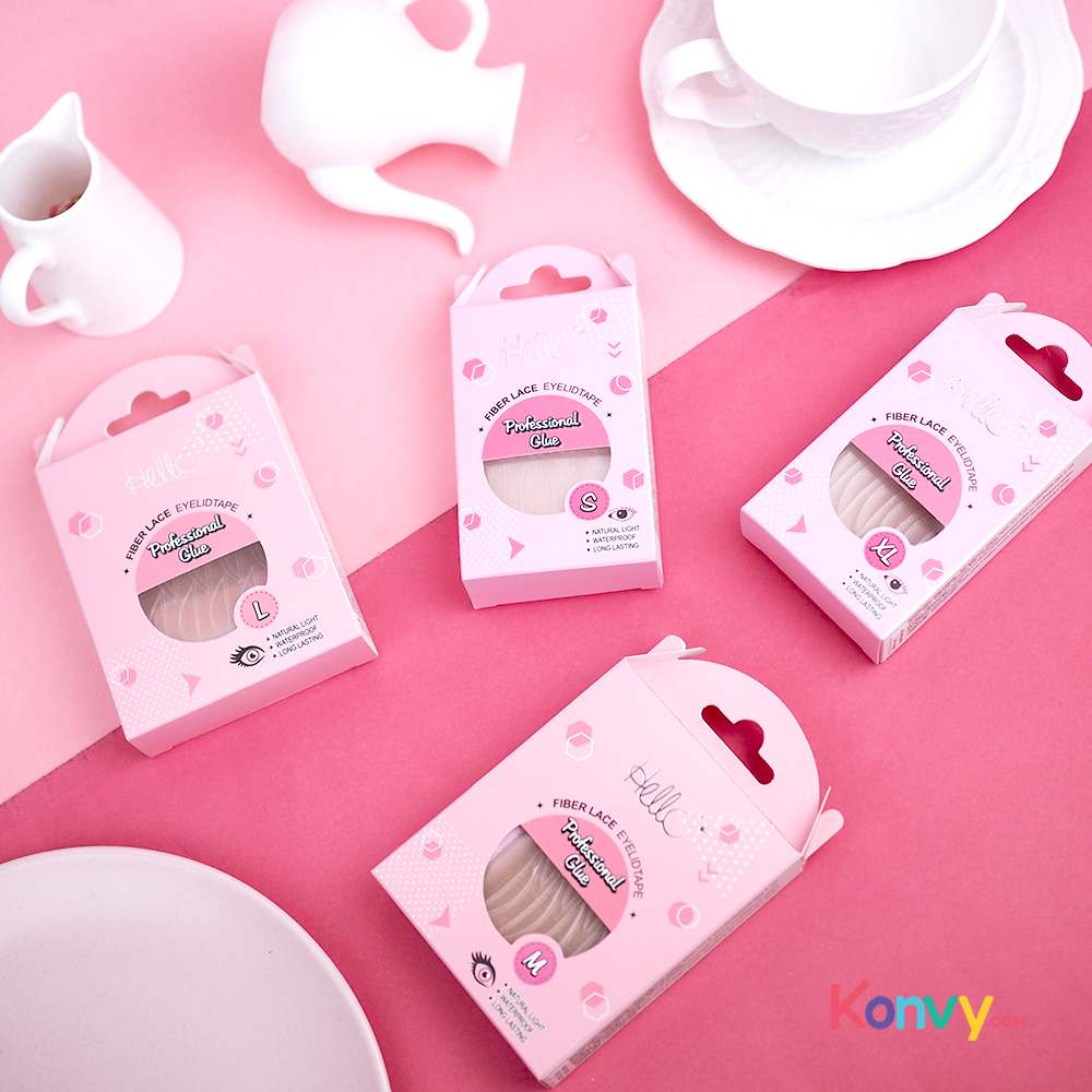 HELLO Fiber Lace Eyelid Tape Professional Glue #L (Normal Pack)_1