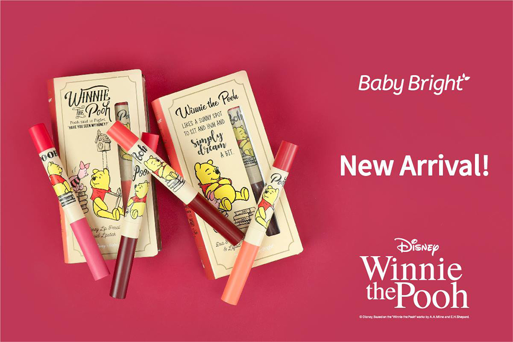 Baby Bright Disney Winnie the Pooh Duo Honey Lip Pencil & Liquid Lipstick (0.5g + 2.5g) #03 Rosy Pink_1
