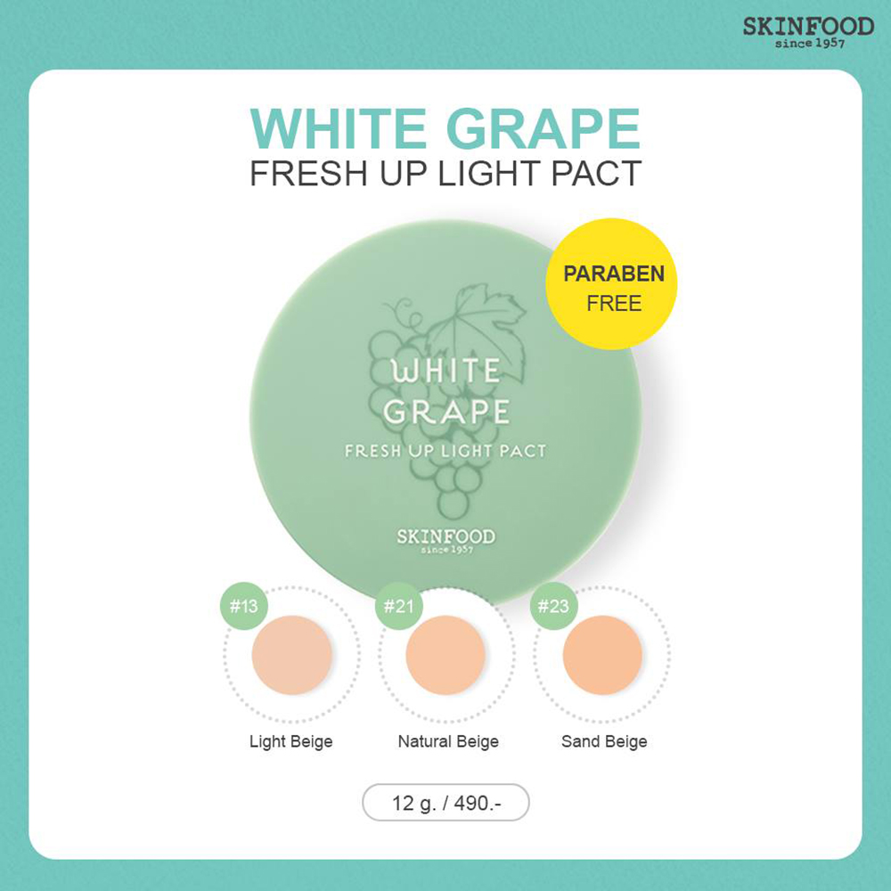 Skinfood White Grape Fresh Up Light Pact 12g #21 Natural Beige_2