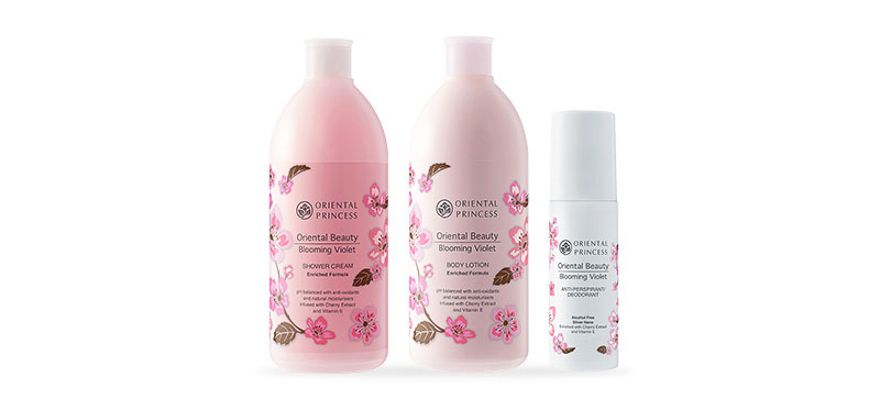 Oriental Princess Beauty Blooming Violet Set 3 Items (Shower Cream 400ml + Body Lotion 400ml + Deodorant70ml)