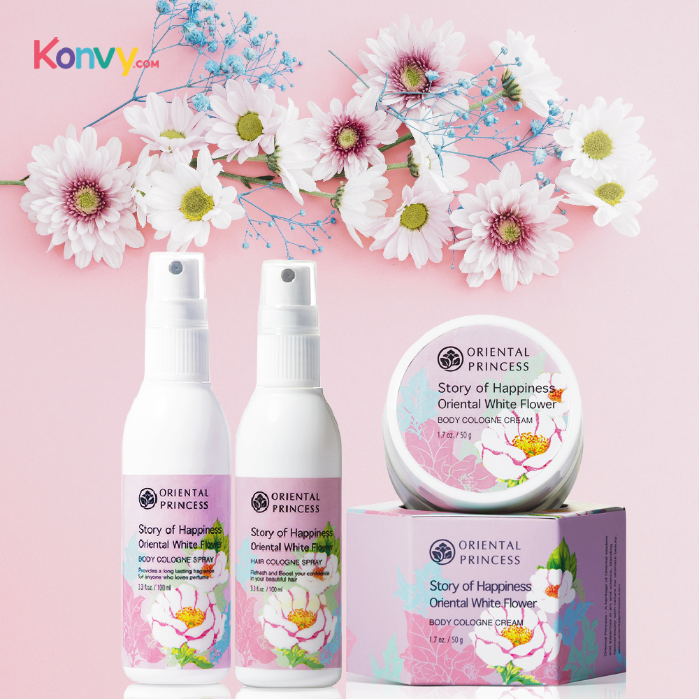 Oriental Princess Story of Happiness Oriental White Flower Set 3 Items (Body Cologne Spray 100ml + Hair Cologne Spray 100ml + Bo