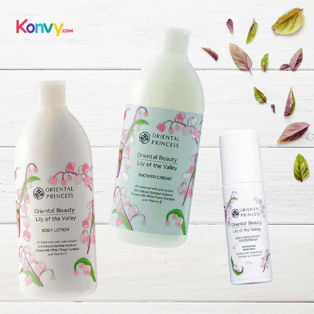 Oriental Princess Beauty Lily of the Valley Set 3 Items (Shower Cream 400ml + Body Lotion 400ml + Deodorant70ml)