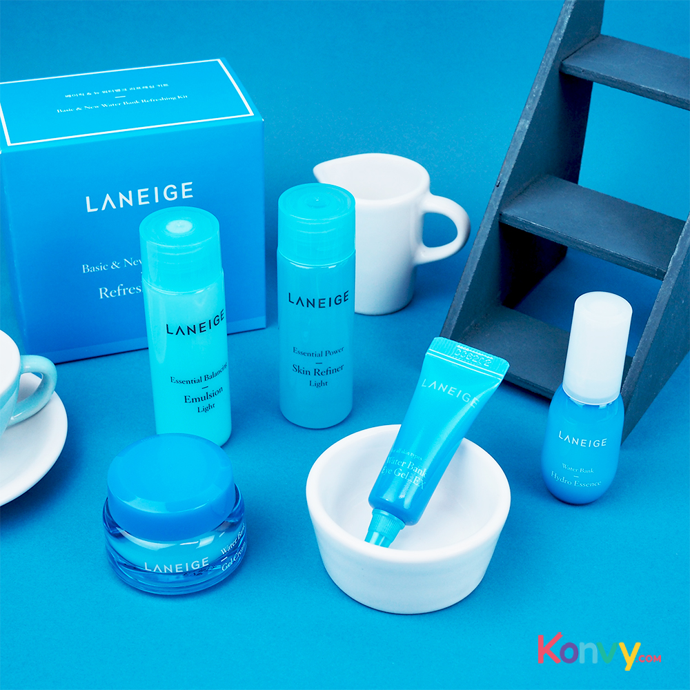 Laneige Basic & New Water Bank Refreshing Kit 5 Items (Blue Package)