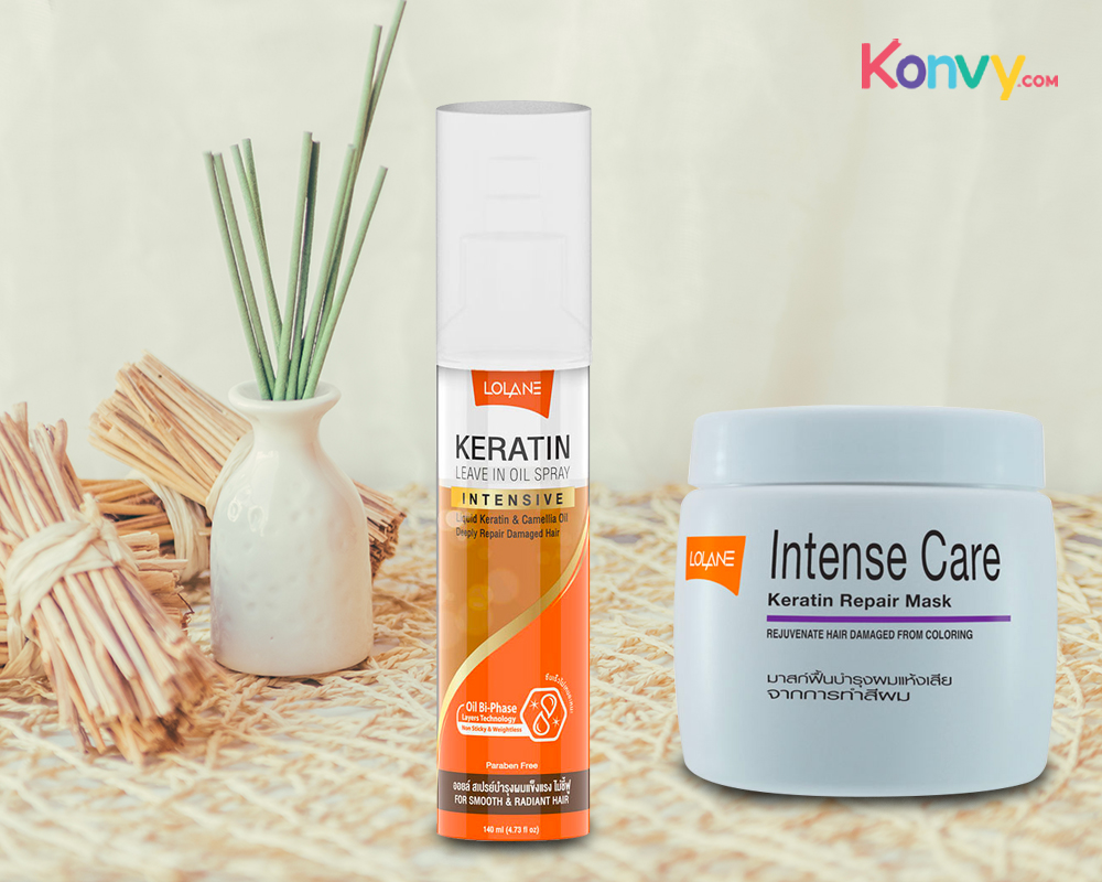 Lolane Intense Care Keratin Repair Mask for Hair Damaged from Coloring 200g + Keratin Leave in Oil Spray 140ml