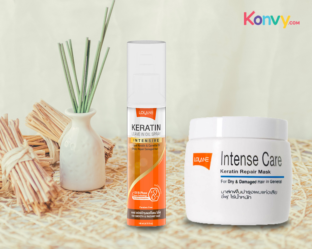 Lolane Intense Care Keratin Repair Mask for Dry & Damaged Hair in General 200g + Keratin Leave in Oil Spray 140ml