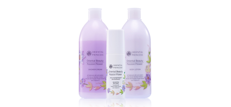 Oriental Princess Beauty Passion Flower Set 3 Items (Shower Cream 400ml + Body Lotion 400ml + Anti-Perspirant Deodorant 70ml)