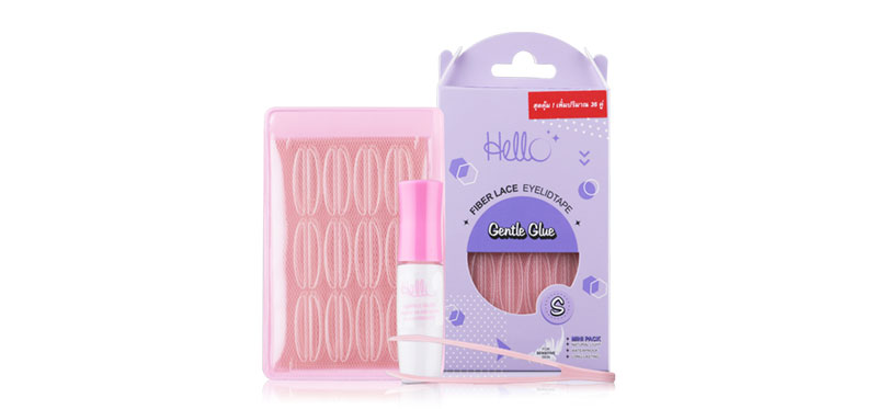 HELLO Fiber Lace Eyelid Tape Gentle Glue 36pairs #S (Mini Pack)