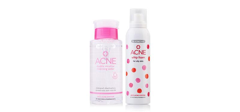 Dr.Somchai Acne Whip Foam For Oily Skin 200ml + Acne Double Micellar Cleansing Water 220ml ( สินค้าหมดอายุ : 2021.01 )