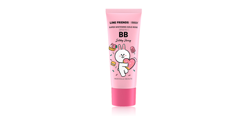 Mille line Friends l Super Whitening Gold Rose BB Cream SPF30/PA++ 30g #01 Silky Ivory