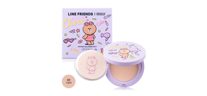 Mille line Friends l Caviar Collagen Pact SPF25/PA++ 11g #01 light