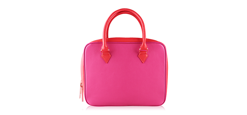 Lancome Rectangle Leather Large Bag #Pink & Red
