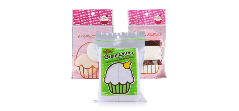 Great Cotton Gift Set 3 Items (Great Cotton Cosmetic Cotton Pad 100pcs + Make Up Powder Puff 2pcs + Make Up Cushion Puff 2pcs)