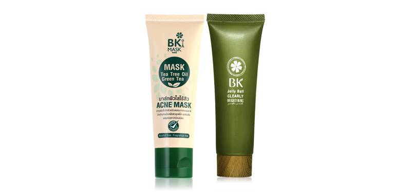 BK Set 2 Items (Mask Acne Mask Tea Tree Oil 35g + Jelly Ball Clearly Brightening Gentle Scrub 40g)