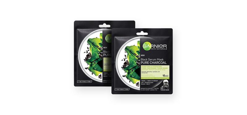 แพ็คคู่ Garnier Skin Naturals Black Serum Mask Pure Charcoal Purifying And Hydrating Pore Tightening (32g x 2pcs)