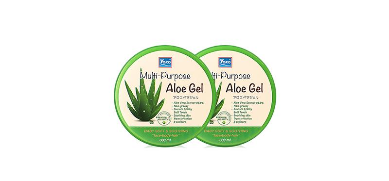 แพ็คคู่ Yoko Multi-Purpose Aloe Gel (300ml x 2pcs)ปรนนิบัติผิวให้สวยสุขภาพดีตั้งแต่หัวจรดเท้า ด้วยเจลบำรุงผิวที่มีส่วนผสมของว่านหางจระเข้ แตงกวา และคาโมมายล์ ช่วยบำรุงผิวพรรณให้ชุ่มชื้นอยู่เสมอ ปลอบประโลมผิวที่ถูกทำร้ายจากแสงแดดให้รู้สึกสดชื่น