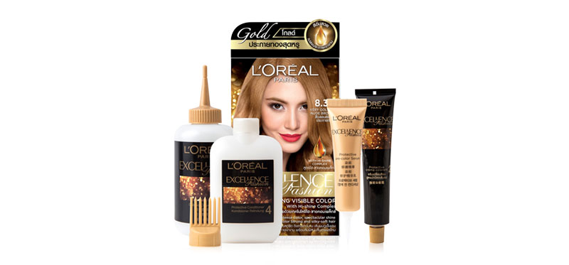 L'Oréal Paris Excellence Fashion Sparkling Visible Color With Hi-Shine Complex #8.34 Very Golden Nude Brown