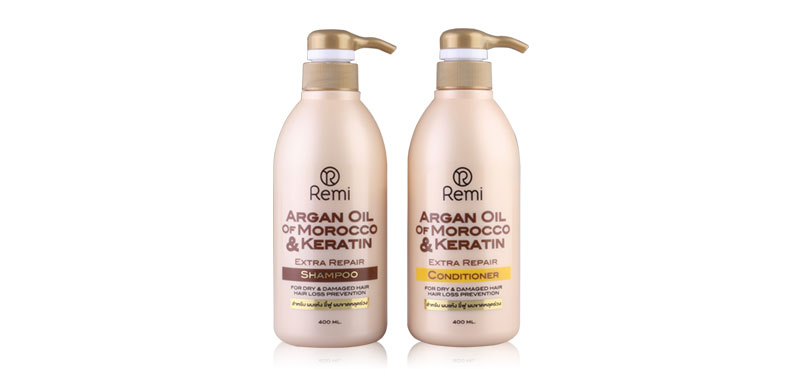 REMI Argan Oil & Keratin Set 2 Items(Shampoo 400ml + Conditioner 400ml)