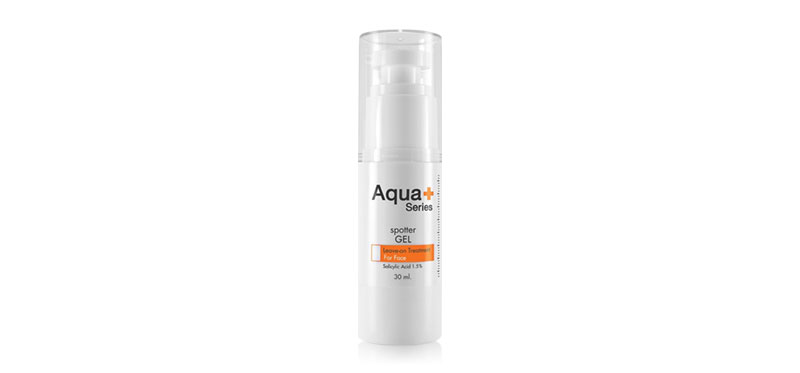 Aqua+ Series Spotter Gel 30ml เจลแต้มสิวเนื้อใส จากอควาพลัส ซีรี่ส์ ด้วยส่วนผสมของ Salicylic Acid ที่เป็น Active Ingrediant ช่วยดูแลผิวที่อุดตันเป็นสิว พร้อมลดการระคายเคืองจากสิวอักเสบ มอบผิวสัมผัสเรียบเนียนขึ้น