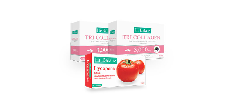 Hi-Balanz Set 3 Items (Tri Collagen 3,000mg 2 box + Lycopene 30 Capsules)