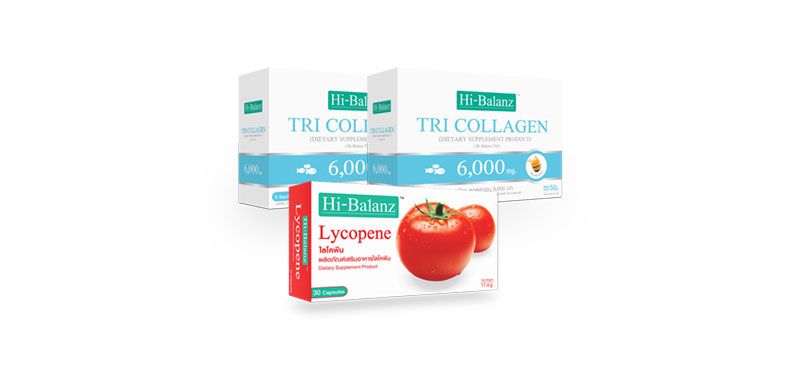Hi-Balanz Set 3 Items (Tri Collagen 6,000mg 2 box + Lycopene 30 Capsules)