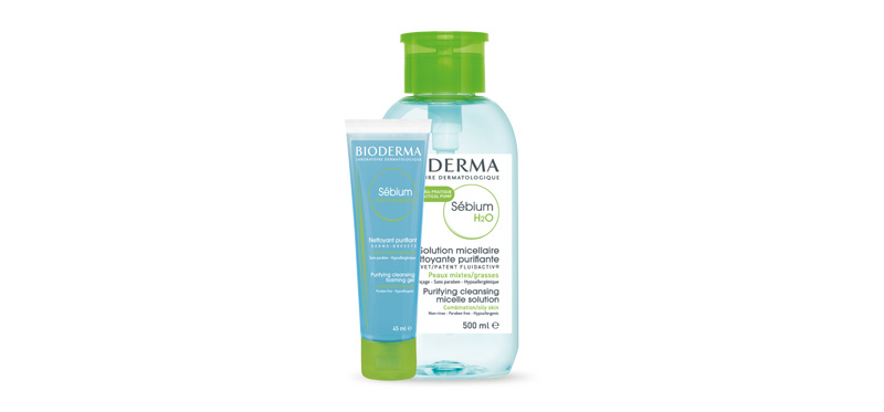 Bioderma Set 2 Items Sebium H2O Purifying Cleansing Micelle Solution 500ml + Gel Moussant 45ml