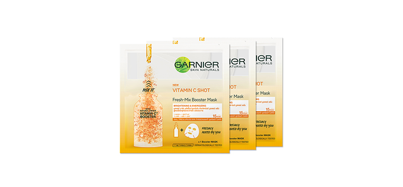 [แพ็คสาม] Garnier Skin Naturals Vitamin C Shot Fresh-Mix Booster Mask