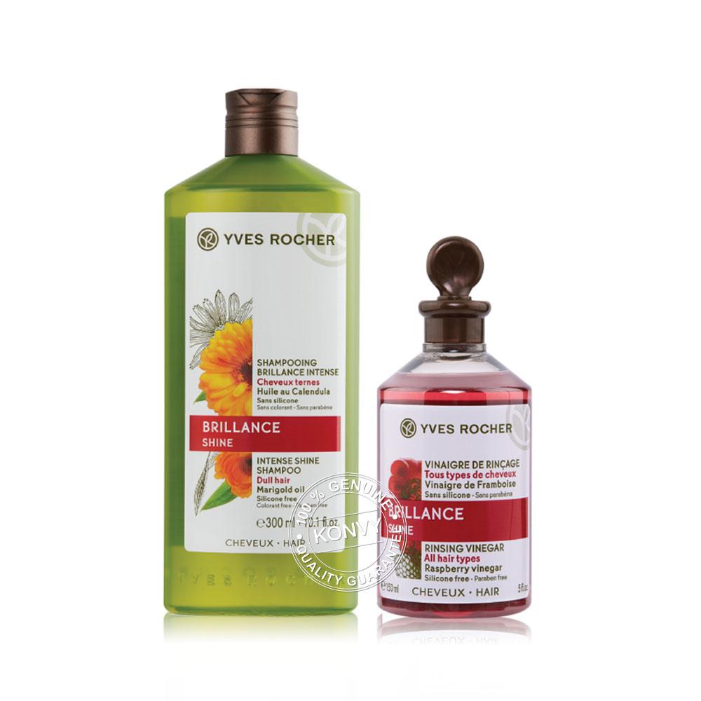 [แพ็คคู่] Yves Rocher Brillance Shine Intense Shine Shampoo 300ml + Radiance Rinsing Vinegar All Hair Types 150ml