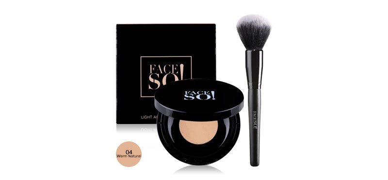 Face So! Set 2 Items Pro Powder Brush 45g + Light Air Loose Powder 10g #04