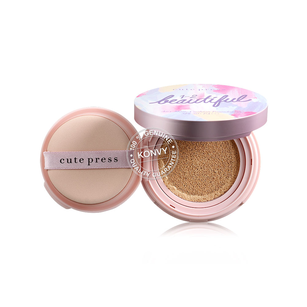 Cute Press 1-2-Beautiful Air Matte Cushion Foundation SPF50+/PA+++ 13g #01 Light Beige (Free! Air Matte Cushion Refill 13g #01)