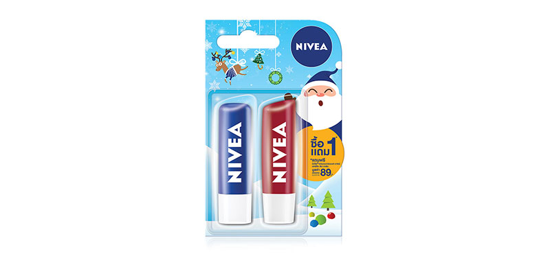 [แพ็คคู่] NIVEA Lip Original Care + Lip Pomegranate (4.8g x 2pcs)